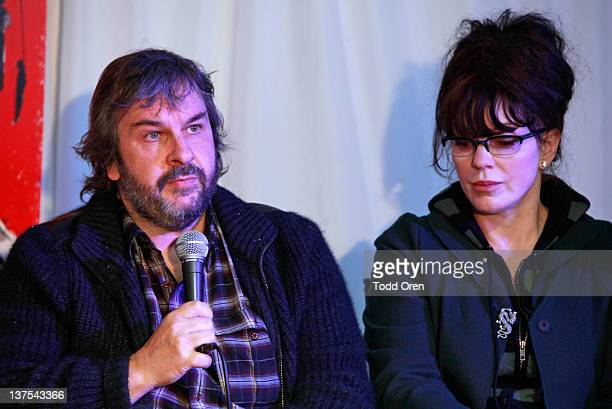 Producers Peter Jackson and Fran Walsh speak at the 'West Of Memphis' Press Conference at Blue Iguana on January 21 2012 in Park City Utah