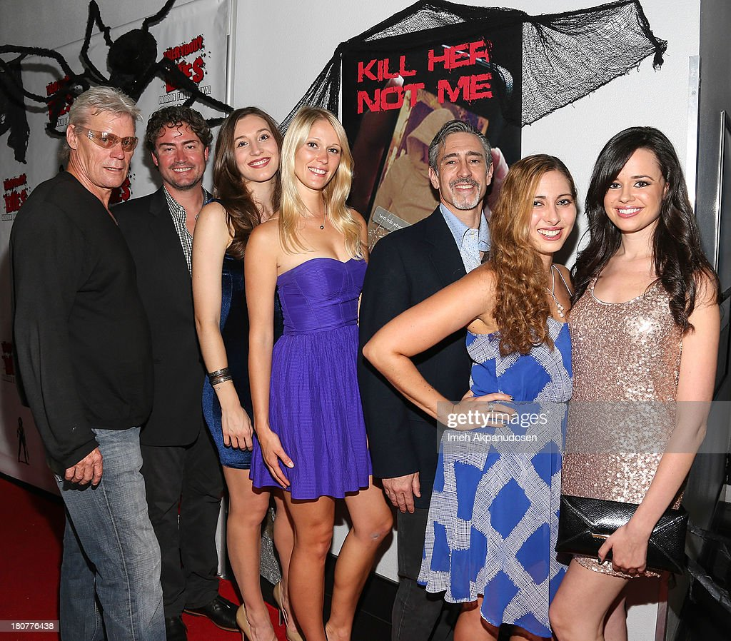 Producers Peter McAlevey, Jason Teague, actresses Elizabeth Guest and Jen Araki, director George Francisco, and actress Elizabeth Siegel and Amanda Tudesco attend the premiere of 'Kill Her, Not Me' during the closing night of the Everybody Dies Film Festival on September 15, 2013 in Brea, California.