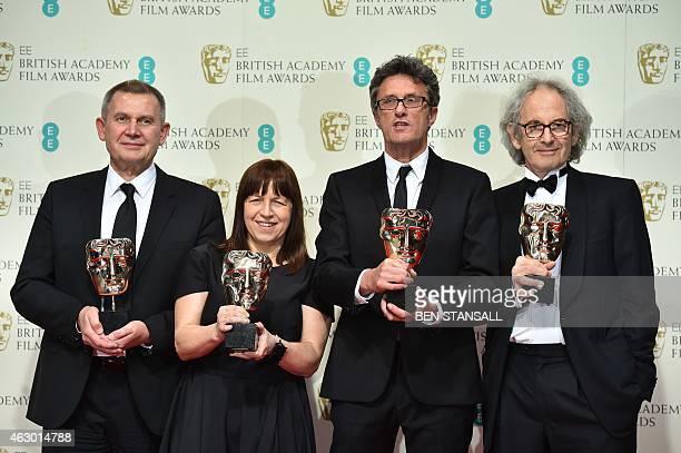 Producers Piotr Dzieciol Ewa Puszczynska Polish filmmaker Pawel Pawlikowski and South Africanborn producer Eric Abraham pose with their awards for a...