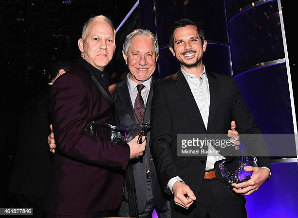 Producers Ryan Murphy Jeffrey Richman and Abraham Higginbotham attend the Family Equality Council's 2015 Los Angeles Awards dinner at The Beverly...
