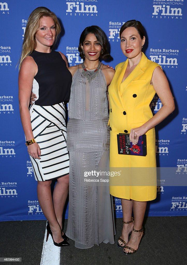 Producers Sarah Arison actress Freida Pinto and producer Fabiola Beracasa attend the 30th Santa Barbara International Film Festival Opening...