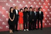 Producers Satomi Odake Tom Yoda actress Fumi Nikaido director Sion Sono actor Shota Sometani producers Haruo Umekawa and Masashi Yamazaki attend the...