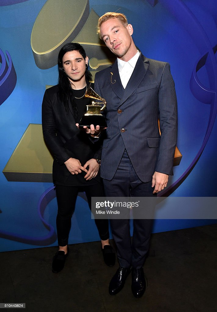 Producers Skrillex (L) and Diplo, winners of Best Dance/Electronic Album for 'Skrillex And Diplo Present Jack Ü', attend the GRAMMY Pre-Telecast at The 58th GRAMMY Awards at Microsoft Theater on February 15, 2016 in Los Angeles, California.