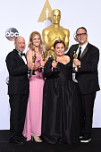 Producers Steve Golin Nicole Rocklin Blye Pagon Faust and Michael Sugar winners of Best Picture for 'Spotlight' pose in the press room during the...