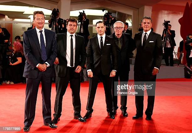 Producers Stuart Ford and Paul Webster actor Tom Hardy producer Guy Heeley and director Steven Knight attend the 'Locke' Premiere during the 70th...