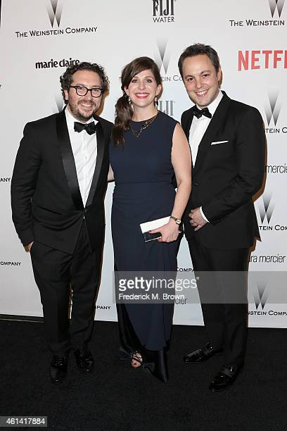 Producers Teddy Schwarzman Nora Grossman and Ido Ostrowsky attend the 2015 Weinstein Company and Netflix Golden Globes After Party at Robinsons May...