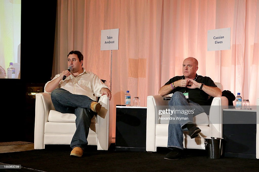 Producers Tobin Armbrust and Cassian Elwes speak at the American Film Market Pitch Conference at the Fairmont Miramar Hotel on November 3, 2012 in Santa Monica, California.