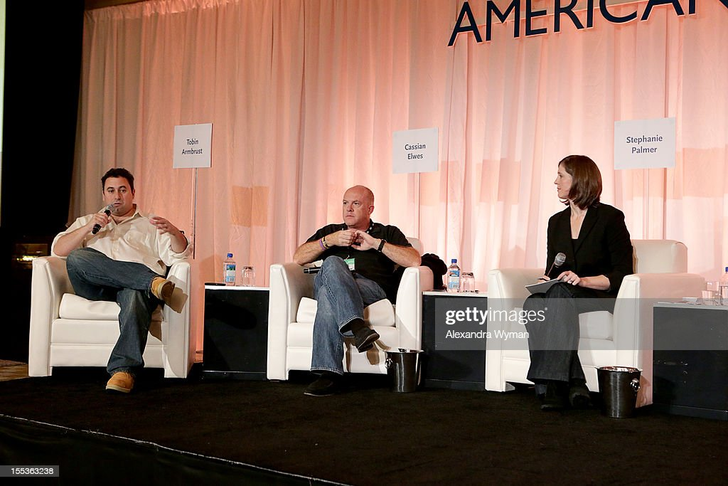 Producers Tobin Armbrust, Cassian Elwes and Management Expert Stephanie Palmer speak at the American Film Market Pitch Conference at the Fairmont Miramar Hotel on November 3, 2012 in Santa Monica, California.