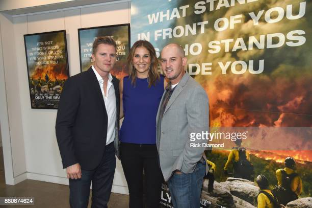 Producers Trent Luckinbill Molly Smith and Tech Advisor Pat McCarty attend 'Only The Brave' Nashville screening hosted by Dierks Bentley at The...