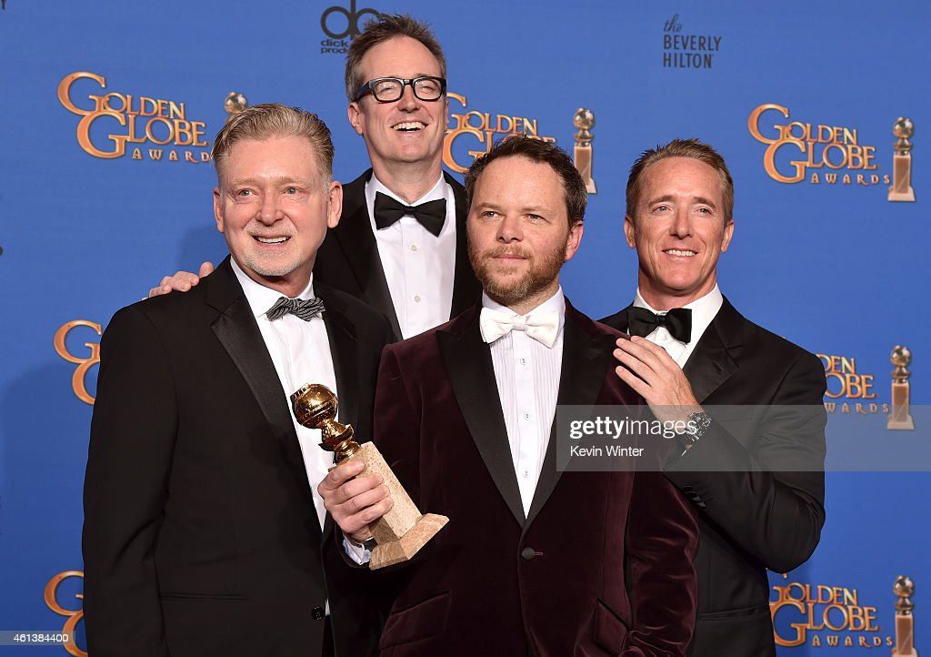 Producers Warren Littlefield, John Cameron, writer/producer Noah Hawley and producer Geyer Kosinski, winners of Best TV Movie or Mini-Series for 'Fargo' poses in the press room during the 72nd Annual Golden Globe Awards at The Beverly Hilton Hotel on January 11, 2015 in Beverly Hills, California.