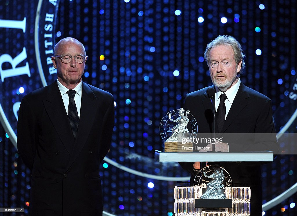 Producers/Directors Tony Scott and Ridley Scott accept award for The Britannia Award for Worldwide Contribution to Filmed Entertainment onstage...