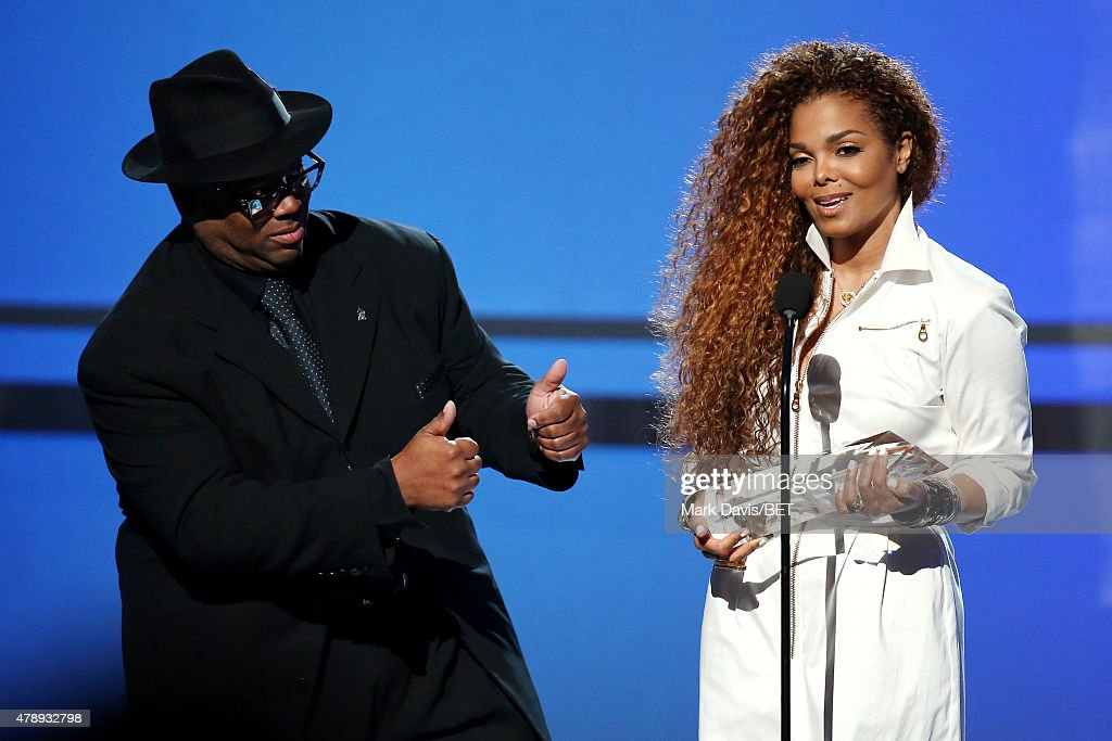Producer/songwriter Jimmy Jam presents honoree Janet Jackson with the Ultimate Icon Award onstage during the 2015 BET Awards at the Microsoft Theater...
