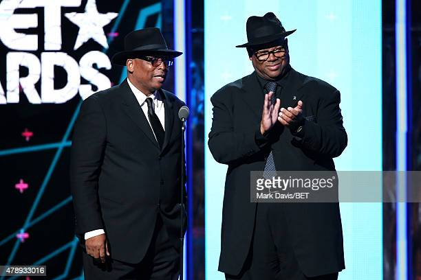 Producer/songwriters Terry Lewis and Jimmy Jam speak onstage during the 2015 BET Awards at the Microsoft Theater on June 28 2015 in Los Angeles...