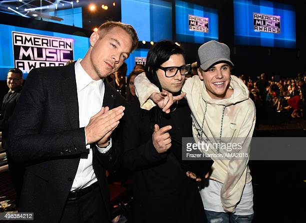 Producers/recording artists Diplo Skirllex and Justin Bieber attend the 2015 American Music Awards at Microsoft Theater on November 22 2015 in Los...