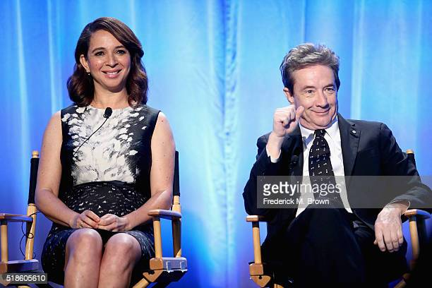 Producers/TV personalities Maya Rudolph and Martin Short speak onstage during the 'Maya Marty' panel at the 2016 NBCUniversal Summer Press Day at...