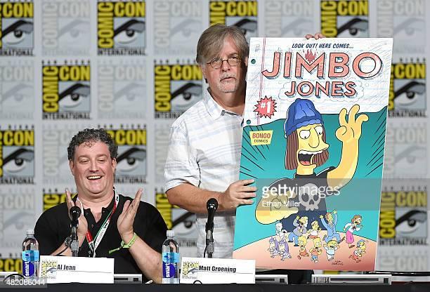 Producer/writer Al Jean looks on as producer/writer Matt Groening unveils the cover of the Jimbo Jones issue of Bongo Comics' Simpsons Comics OneShot...