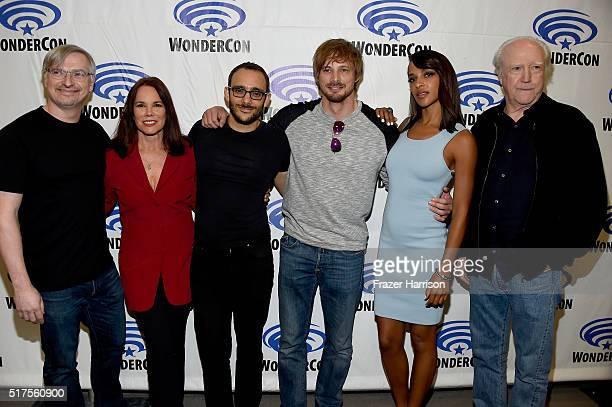 Producer/writer Glen Mazzara actors Barbara Hershey Omid Abtahi Bradley James Megalyn Echikunwoke and Scott Wilson from the series 'Damien' attend...