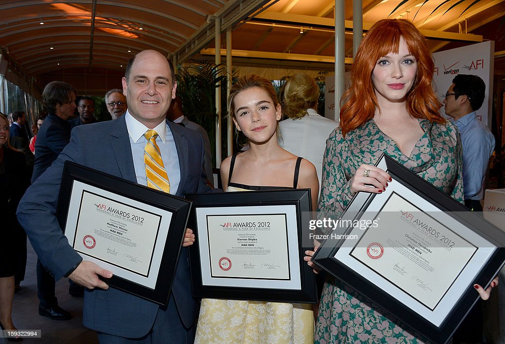 Producer/writer Matthew Weiner and actresses Kiernan Shipka and Christina Hendricks attend the 13th Annual AFI Awards at Four Seasons Los Angeles at Beverly Hills on January 11, 2013 in Beverly Hills, California.