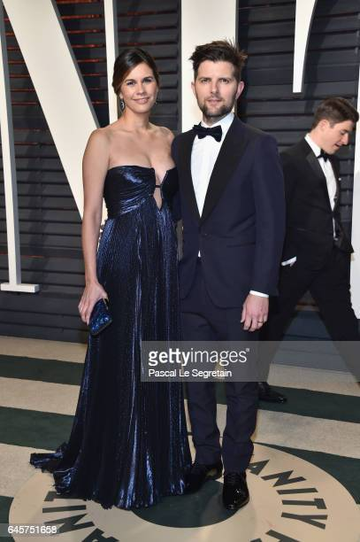 Producerwriter Naomi Scott and actor Adam Scott attend the 2017 Vanity Fair Oscar Party hosted by Graydon Carter at Wallis Annenberg Center for the...