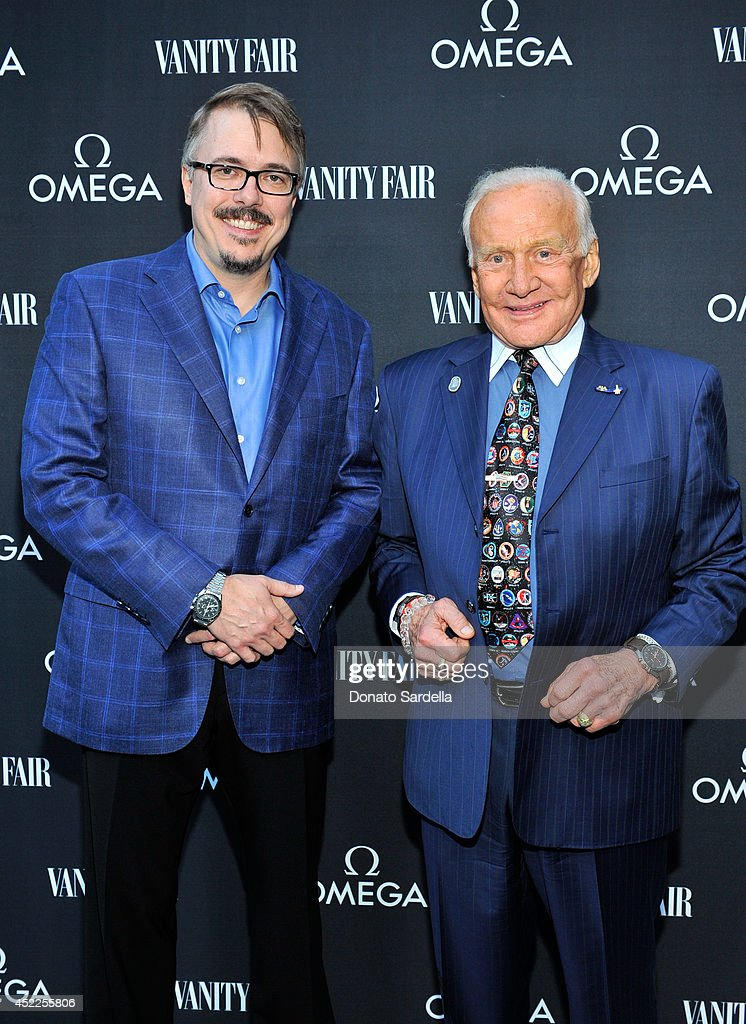 Producer/writer Vince Gilligan and Colonel Buzz Aldrin attend the OMEGA And Vanity Fair Celebration of the 45th Anniversary of the Apollo 11 Moon...