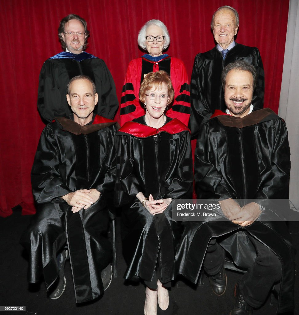 Producer/Writer/Director Marshall Herskovitz, actress Carol Burnett, producer/writer/director Edward Zwick, (L-R back row) Bob Gazzale President/CEO of AFI, Jean Picker Firstenberg former director/CEO of AFI, and writer George Stevens, Jr., attend AFI's Conservatory Commencement Ceremony at the TCL Chinese Theatre on June 5, 2017 in Hollywood, California.