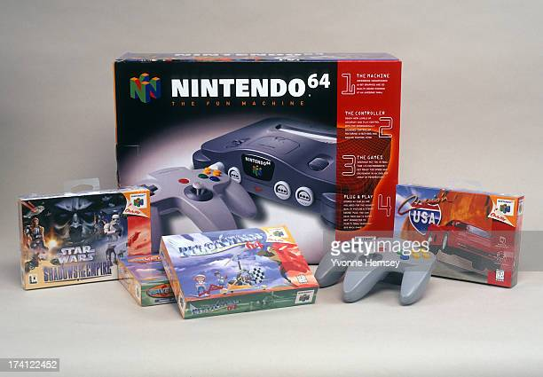 Product shot of Nintendo 64 game system with games and controller is photographed December 7 1996 in New York City