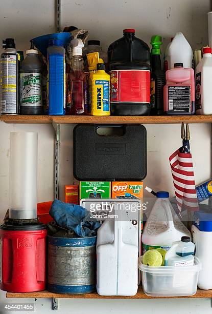 Product storage on a garage shelf