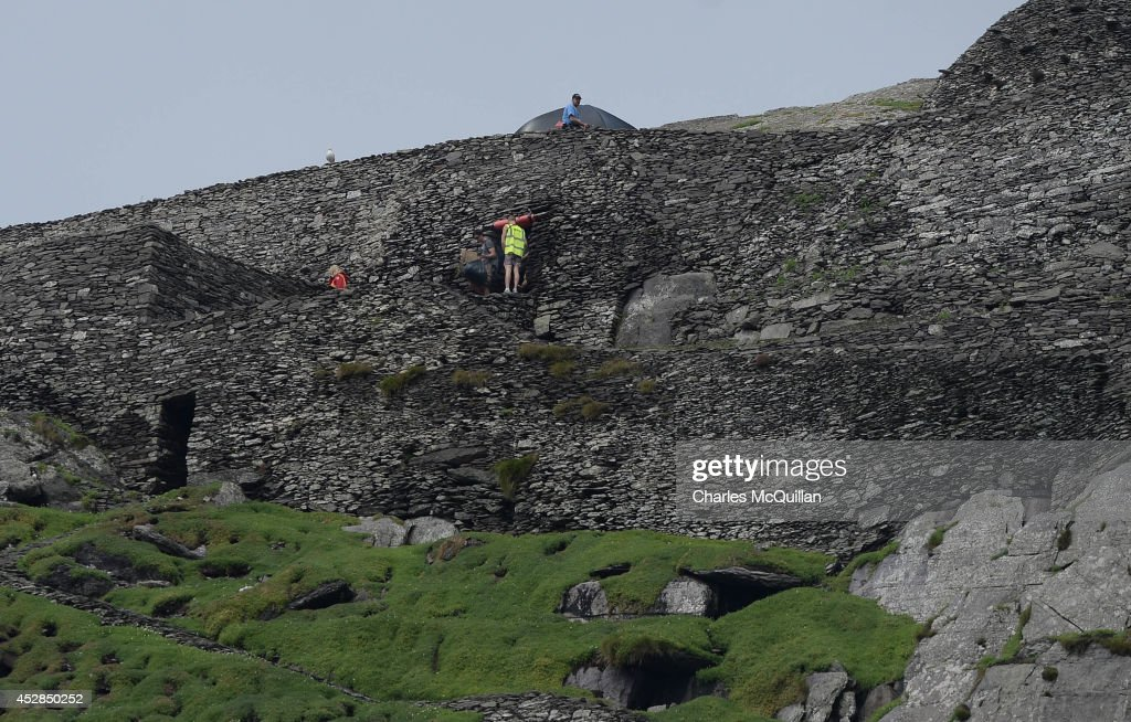 Production crew and sets on Skellig Island as Star Wars Episode VII directed by JJ Abrams begins filming, July 28, 2014 in Skellig Island, Ireland.