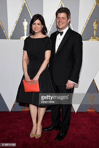 Production designer Adam Stockhausen and a guest attend the 88th Annual Academy Awards at Hollywood Highland Center on February 28 2016 in Hollywood...