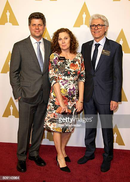 Production designer Adam Stockhausen set decorators Rena DeAngelo and Bernhard Henrich attend the 88th Annual Academy Awards Nominee Luncheon in...