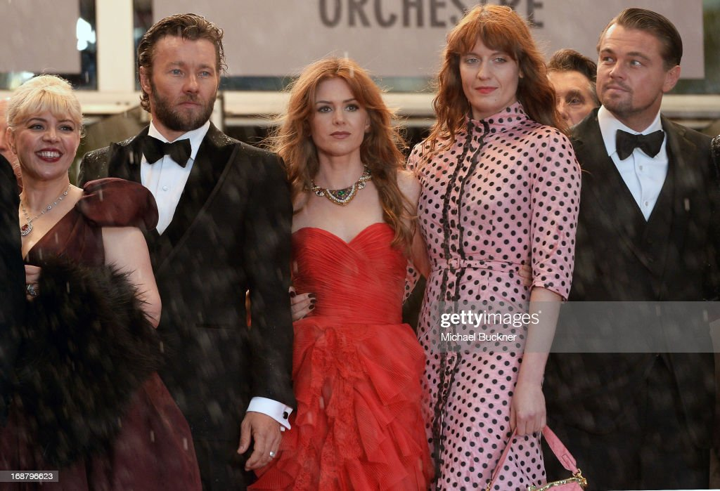 Production designer Catherine Martin, actors Joel Edgerton, Isla Fisher, singer Florence Welch and Leonardo DiCaprio attends the Opening Ceremony and premiere of 'The Great Gatsby' during the 66th Annual Cannes Film Festival at Palais des Festivals on May 15, 2013 in Cannes, France.