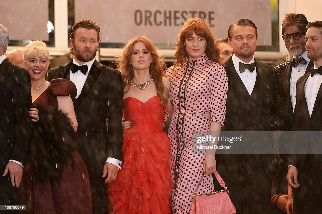 Production designer Catherine Martin, actors Joel Edgerton, Isla Fisher, singer Florence Welch, Leonardo DiCaprio, Amitabh Bachchan and Tobey Maguire attend the Opening Ceremony and premiere of 'The Great Gatsby' during the 66th Annual Cannes Film Festival at Palais des Festivals on May 15, 2013 in Cannes, France.
