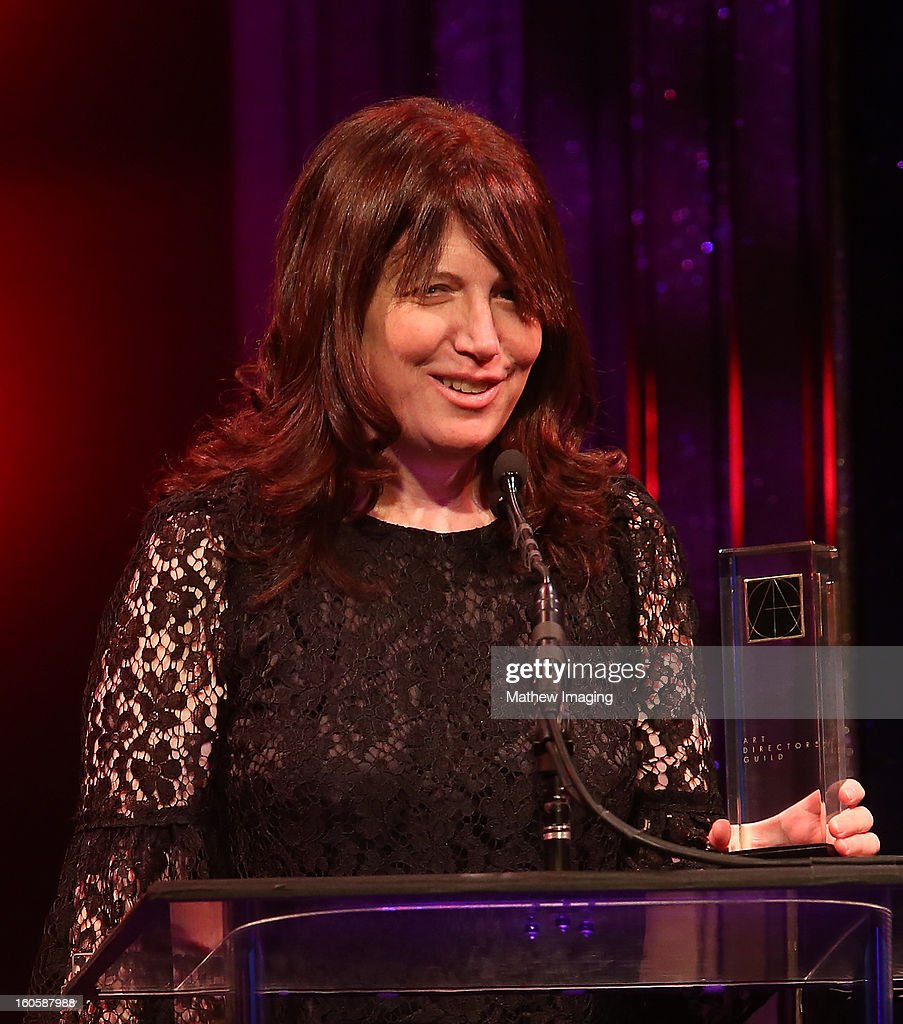 Production Designer Judy Becker receives the award for Excellence in Production for an Episode of a Half-Hour Single Camera Television Series 2012 - GIRLS 'Pilot' backstage at The 17th Annual Art Directors Guild Awards, held at the Beverly Hilton Hotel on February 2, 2013 in Beverly Hills, California.