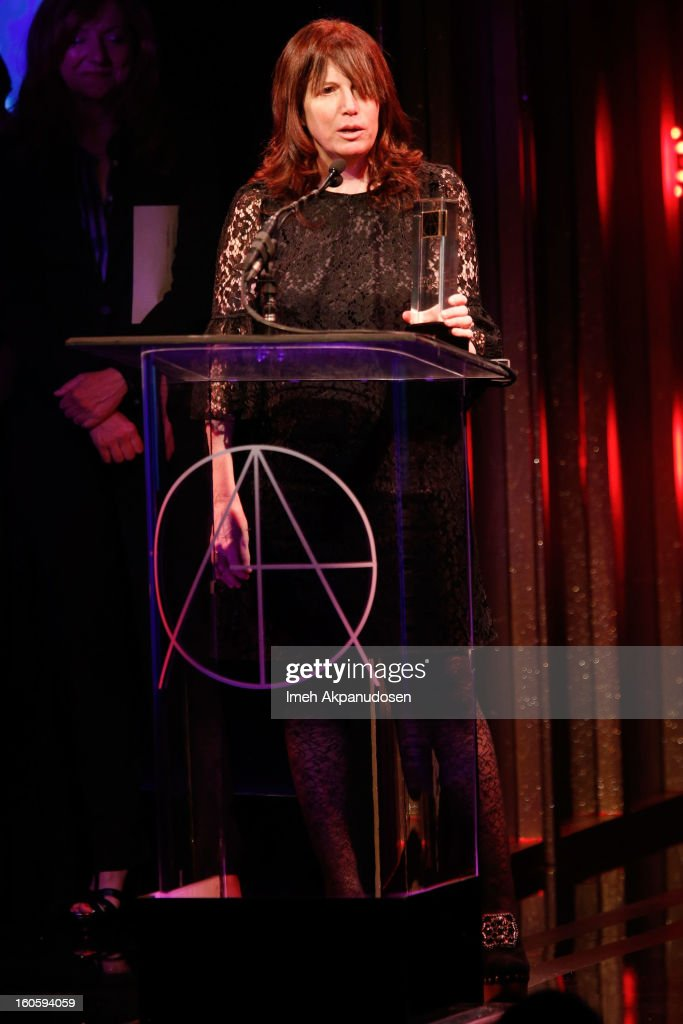 Production Designer Judy Becker receives the award for Excellence in Production for an Episode of a Half-Hour Single Camera Television Series 2012 - GIRLS 'Pilot' onstage at the 17th Annual Art Directors Guild Awards, held at The Beverly Hilton Hotel on February 2, 2013 in Beverly Hills, California.