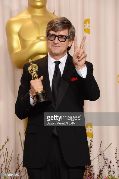 Production designer Rick Carter winner of Best Production Design for 'Lincoln' poses in the press room during the Oscars held at Loews Hollywood...