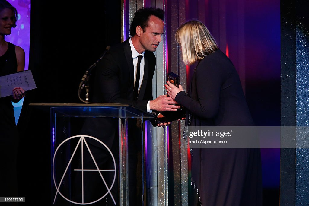 Production Designer Sarah Greenwood (R) accepts the award for Excellence in Production Design for a Period Feature Film 2012 - Anna Karenina onstage at the 17th Annual Art Directors Guild Awards, held at The Beverly Hilton Hotel on February 2, 2013 in Beverly Hills, California.