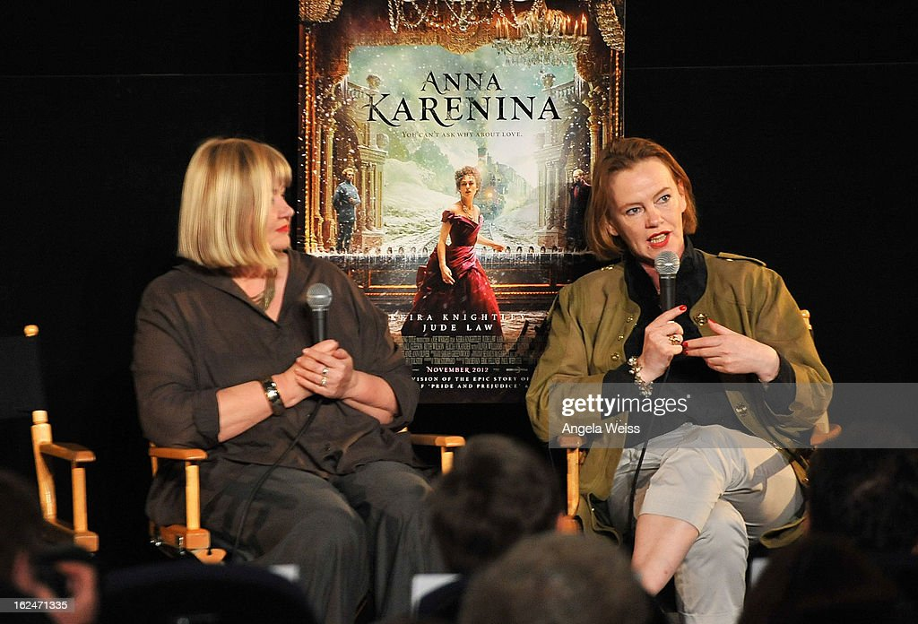 Production designer Sarah Greenwood and set decorator Katie Spencer attend the Academy Award Nominees for Production Design and Set Decorators panel discussion at the Egyptian Theatre on February 23, 2013 in Hollywood, California.