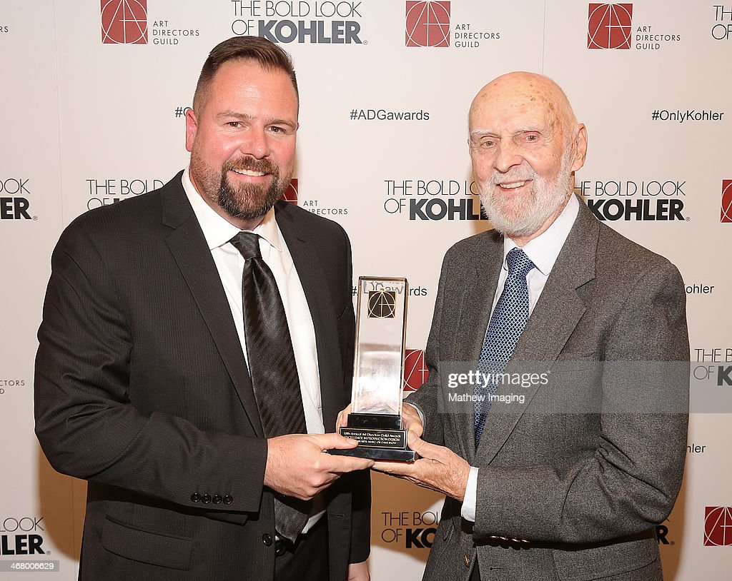 Production Designer Steve Bass receives the award for Excellence in Production Design for an Awards, Music or Game Show 2013 - The 67th Annual Tony Awards and presenter Bill Bohnert at the 18th Annual ADG Awards held at The Beverly Hilton Hotel on February 8, 2014 in Beverly Hills, California.