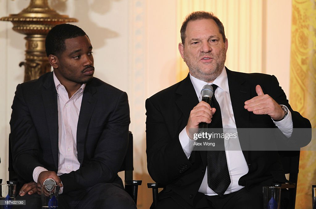 Production executive <a gi-track='captionPersonalityLinkClicked' href=/galleries/search?phrase=Harvey+Weinstein&family=editorial&specificpeople=201749 ng-click='$event.stopPropagation()'>Harvey Weinstein</a> (R) speaks as director <a gi-track='captionPersonalityLinkClicked' href=/galleries/search?phrase=Ryan+Coogler&family=editorial&specificpeople=7316581 ng-click='$event.stopPropagation()'>Ryan Coogler</a> (L) listens during a workshop for high school students from DC, New York and Boston about careers in film production November 8, 2013 at the East Room of the White House in Washington, DC. Students had an opportunity to hear from leaders in the industry about animation, special effects, makeup, costume, directing, music and sound effects.