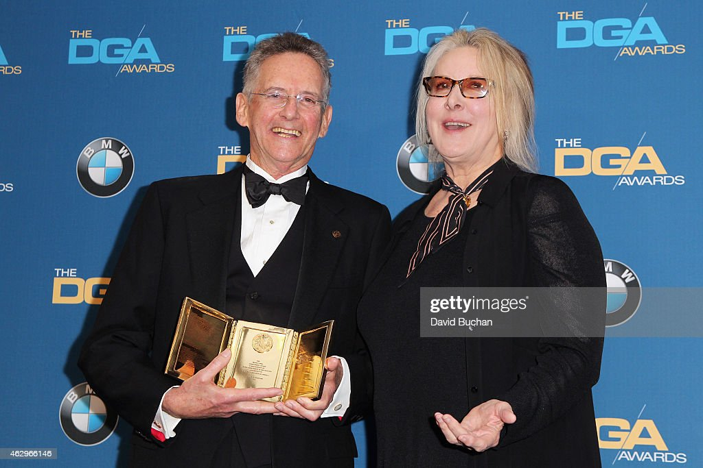 Production Manager Philip Goldfarb recipient of the Frank Capra Achievement Award poses with director Betty Thomas in the press room at the 67th...