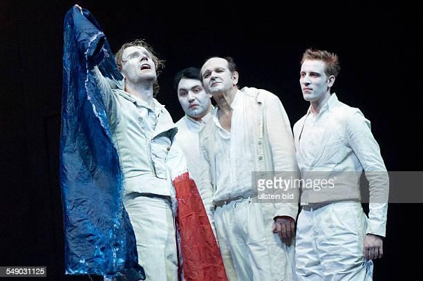 Production of Georg Büchner's play 'Danton's Death' in the Berliner Ensemble scene with Ulrich Brandhoff Roman Kanonik Norbert Stöß and Felix Tittel...