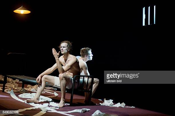 Production of Georg Büchner's play 'Danton's Death' in the Berliner Ensemble scene with Ulrich Brandhoff and Felix Tittel direction Claus Peymann...