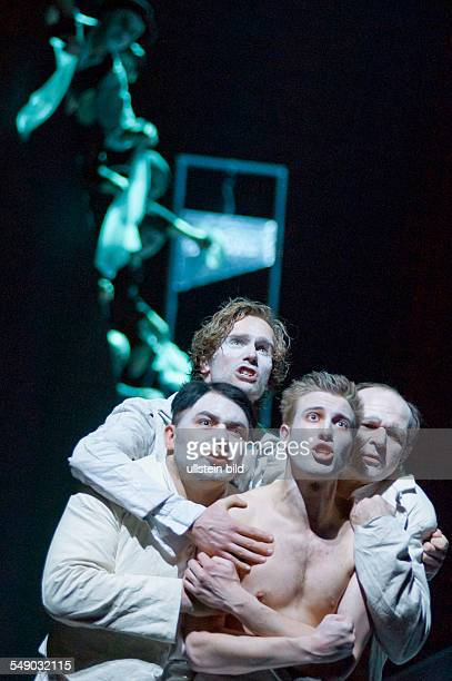 Production of Georg Büchner's play 'Danton's Death' in the Berliner Ensemble scene with Roman Kanonik Ulrich Brandhoff Felix Tittel and Norbert Stöß...