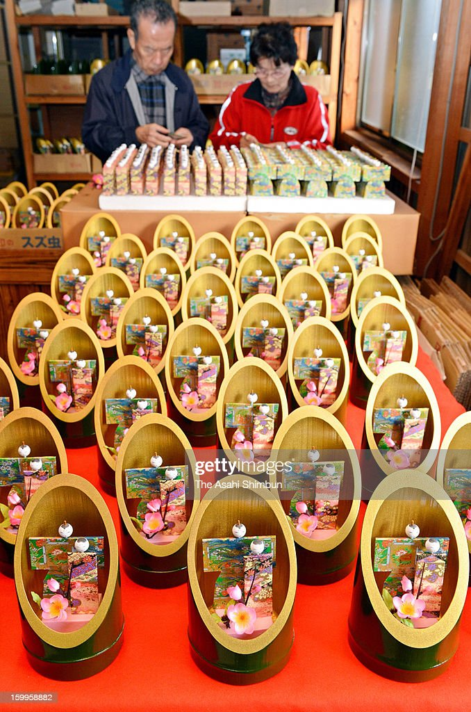 Production of Kaguya-bina at its peak as the March 3 Girls Day approaches on Janaury 22, 2013 in Kamigori, Hyogo, Japan. The new type of Japanese ornamental doll took a hint from the oldest Japanese tale of Princess Kaguya, or The Tale of the Bamboo Cutter.