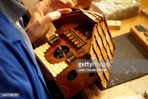 Production of original German cuckoo clock
