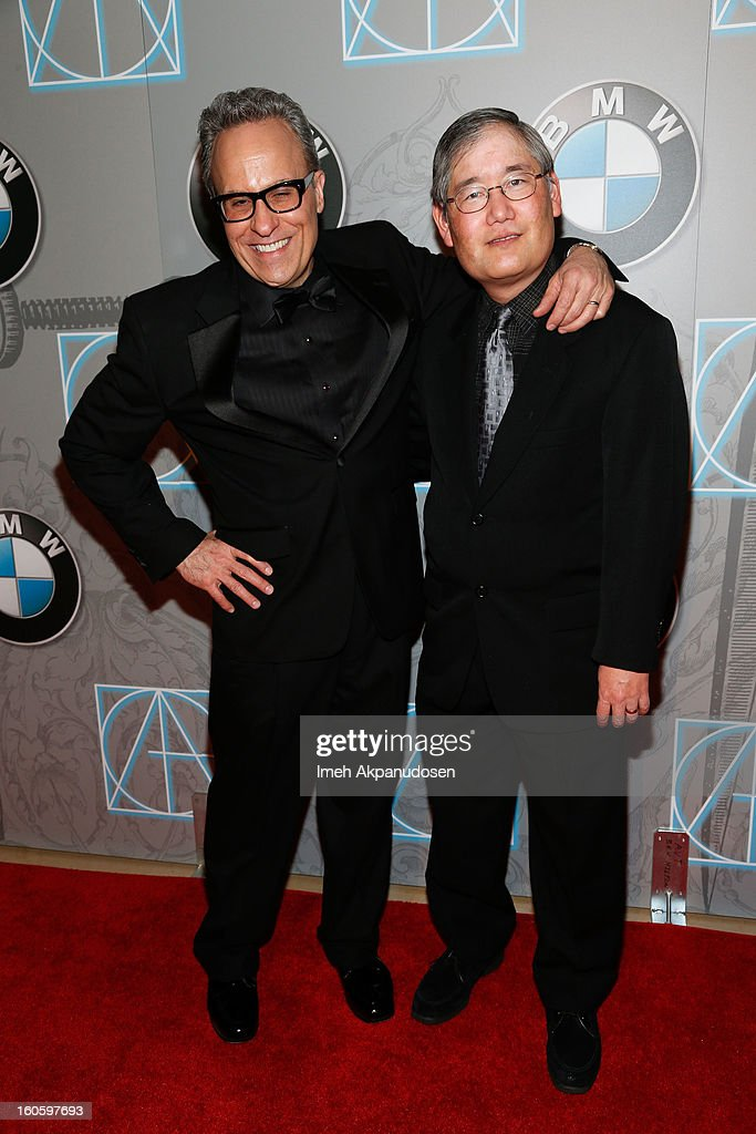 Production team members of the Star Trek Franchise Doug Drexler (L) and Michael Okuda attend the 17th Annual Art Directors Guild Awards, held at The Beverly Hilton Hotel on February 2, 2013 in Beverly Hills, California.
