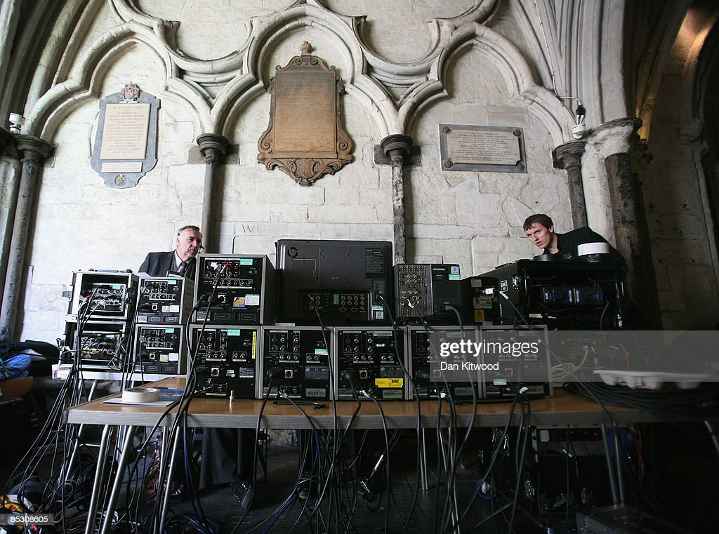 Production teams make final checks inside Westminster Abbey ahead of the Commonwealth Observance on March 9, 2009 in London, England. The event which will be attended by Queen Elizabeth II, will mark the 60th anniversary of the modern commonwealth and is celebrated across the member countries.