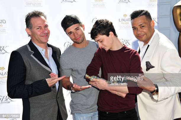 GBK Productions CEO Gavin Keilly singer Jake Miller Lucas Zumann and 'Raffles' attend the GBK PreOSCAR Luxury Lounge on February 24 2017 in Beverly...
