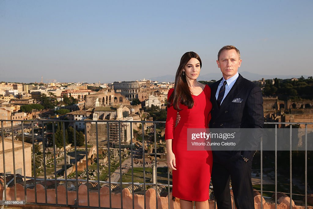Productions, Metro-Goldwyn-Mayer and Sony Pictures Entertainment commence filming in Rome, Italy for the 24th James Bond adventure SPECTRE. Pictured <a gi-track='captionPersonalityLinkClicked' href=/galleries/search?phrase=Monica+Bellucci&family=editorial&specificpeople=204777 ng-click='$event.stopPropagation()'>Monica Bellucci</a> and <a gi-track='captionPersonalityLinkClicked' href=/galleries/search?phrase=Daniel+Craig+-+Actor&family=editorial&specificpeople=12323550 ng-click='$event.stopPropagation()'>Daniel Craig</a>. Event date: February 18, 2015.