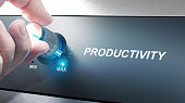 Hand turning a productivity knob. Concept for productivity management. Composite image between an photography and a 3D background.
